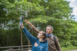 Markus Dietz (Institut für Tierökologie und Naturbildung) showing Tatiana Kuzmenko (FZS staff) how to track bats using Radio telemetry equipment. Pripiat-Stokhid National Park in the Polesie area, Ukraine. © Daniel Rosengren