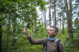 Markus Dietz (Institut für Tierökologie und Naturbildung) tracking bats using Radio telemetry equipment. Pripiat-Stokhid National Park in the Polesie area, Ukraine. © Daniel Rosengren